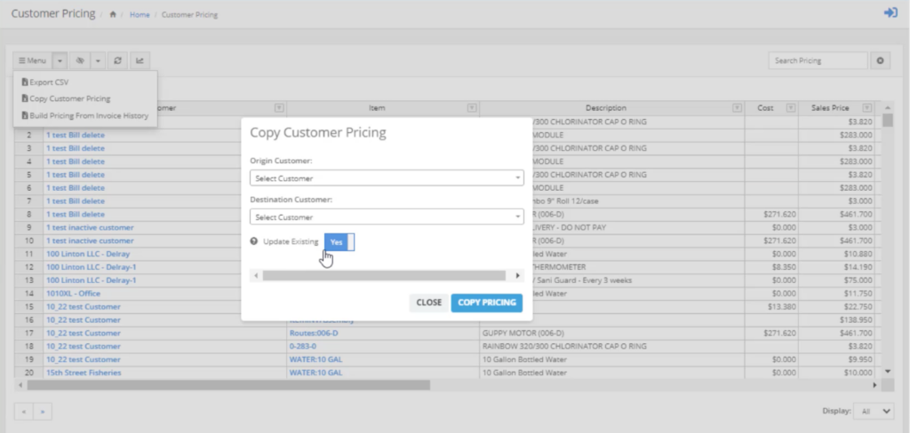 copy customer pricing option screen