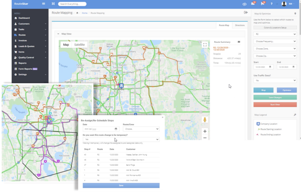 route mapping drawing tool reassign stops option
