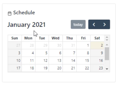 schedule view within portal